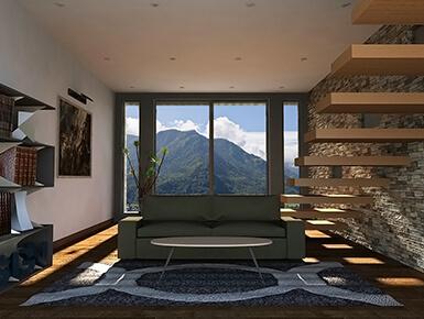 Modélisation 3D du salon d'une maison